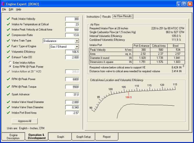 Expert Engine Air Flow Results Screen
